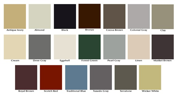 image of seamless gutter color options